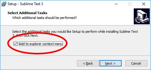 sublime text editor installation check box