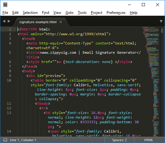 email signature in sublime text editor