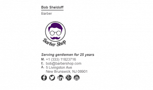 Email Signature Example for Barber Shop