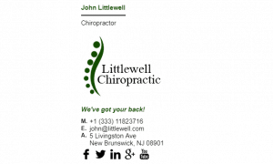 Email Signature Example for Chiropractor