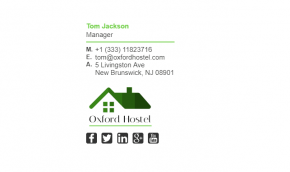 Email Signature Example for Hostel