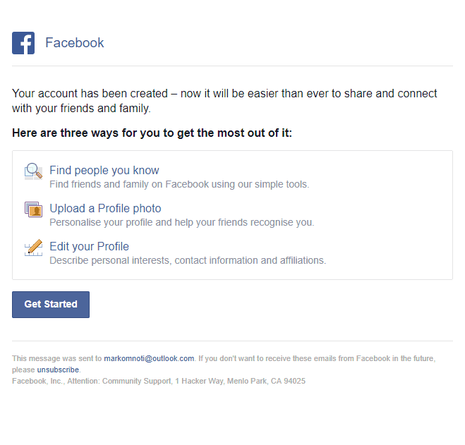 Facebook Welcome Email