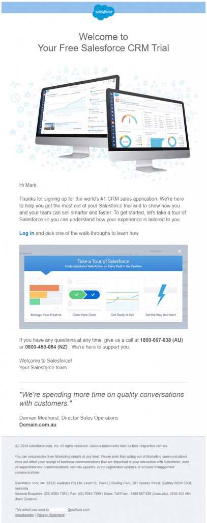Salesforce Welcome Email