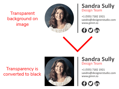 email signature image transparency