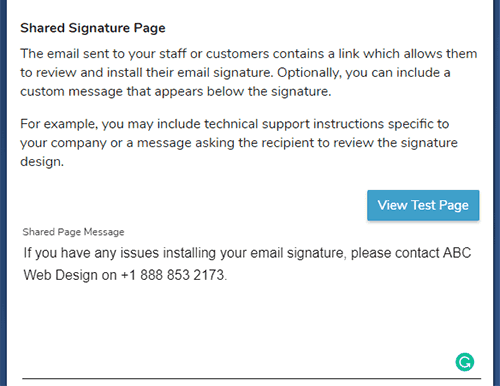 white labeled shared signature page settings