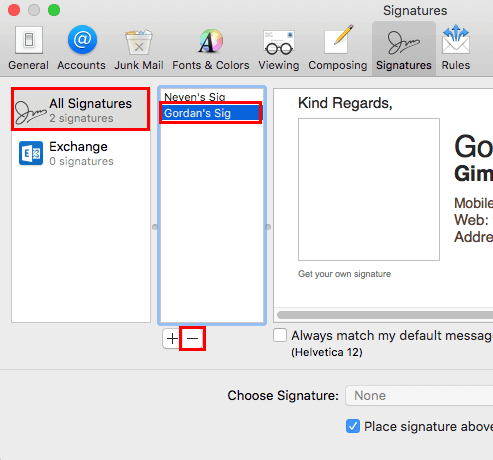 Apple Mail Mail Preferences Signatures Tab Remove Signature