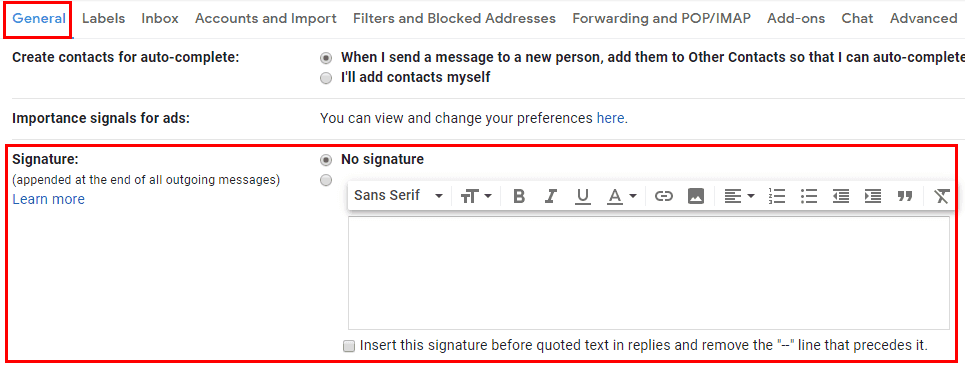 Gmail Settings General Signatures