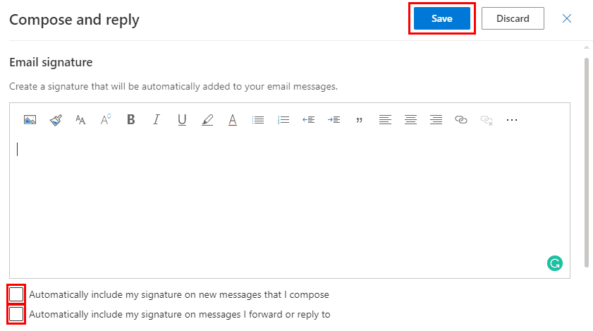Office 365 Settings Automatically Include Email Signature
