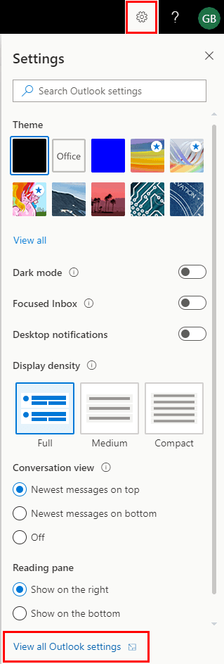 Office 365 Settings View All Outlook Settings